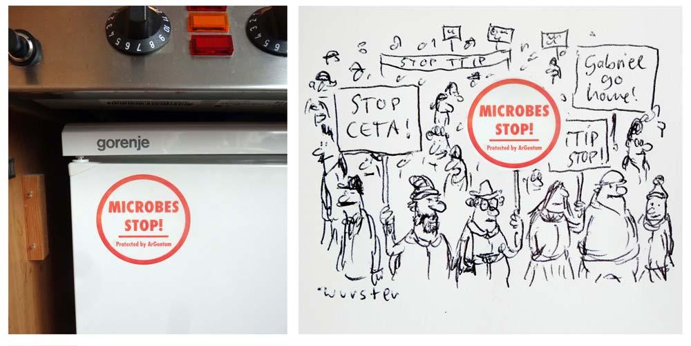 Kühlschrankaufkleber Microbes Stop