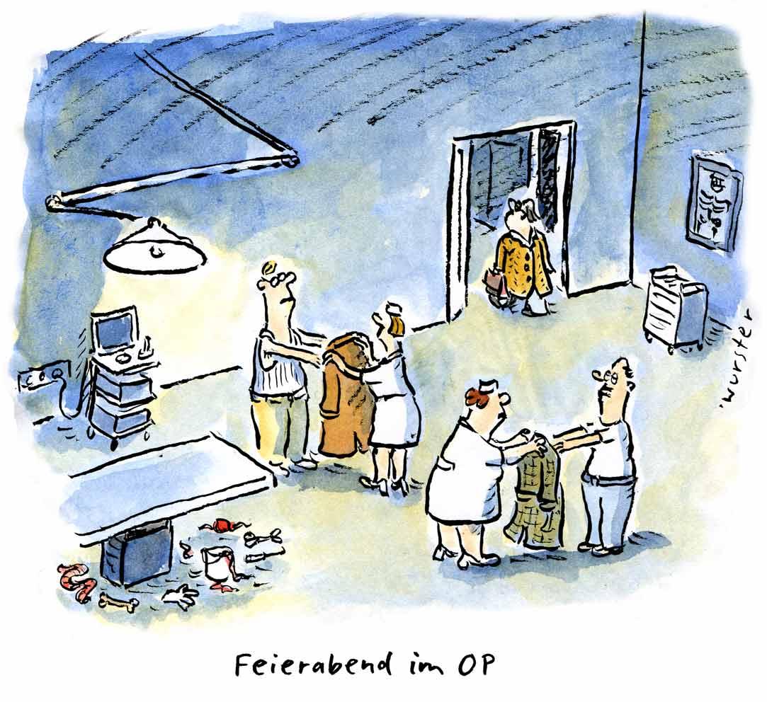 Feierabend im OP Halbgötter in weiß Chirurgen