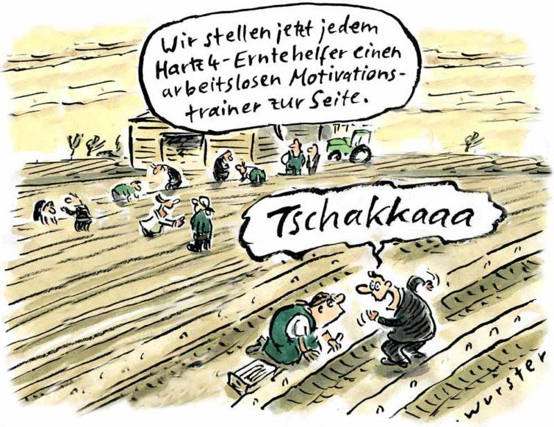 Motivationstrainer Tschakka Spargel Hartz 4 Erntehelfer Arbeitslosigkeit