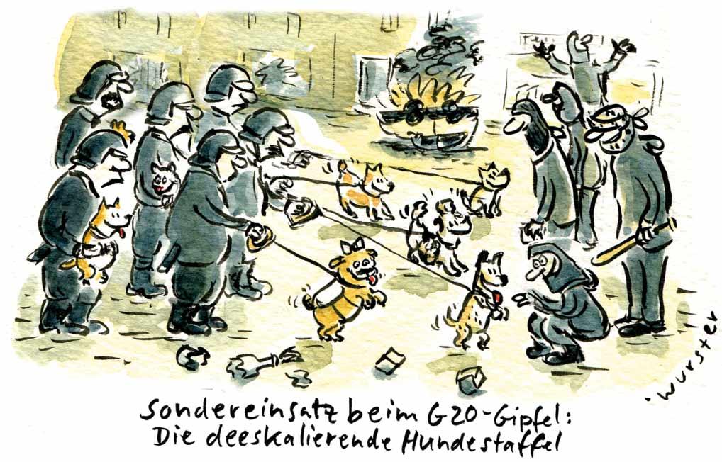 G20 Gipfel Hamburg Proteste Autonome welcome to hell Hundestaffel Polizei