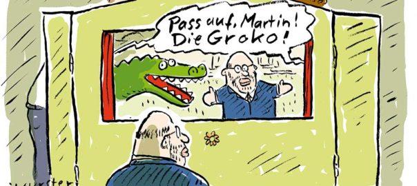 Parteigenossen spielen Kasperle für Martin Schulz
