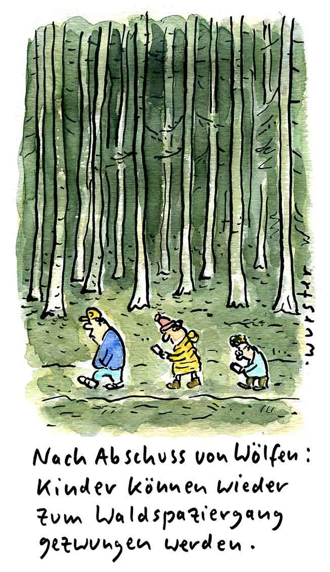 Nach Abschuss von Wölfen: Kinder können wieder zum Waldspaziergang gezwungen werden.