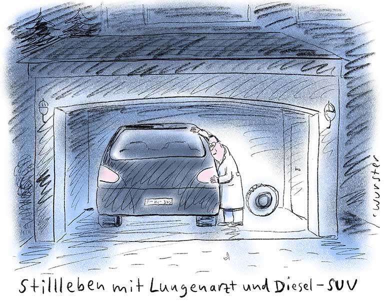 Stillleben mit Lungenarzt und Diesel-SUV